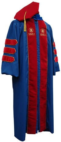 SMU custom doctor's gown, front view