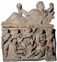 Etruscan alabaster urn