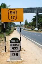 Highway marker on India's SH 17