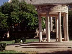 The Umphrey Lee Cenotaph in SMU's law quad