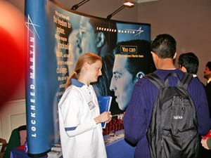 Lockheed Martin representatives talk with SMU students at a past Career Fair