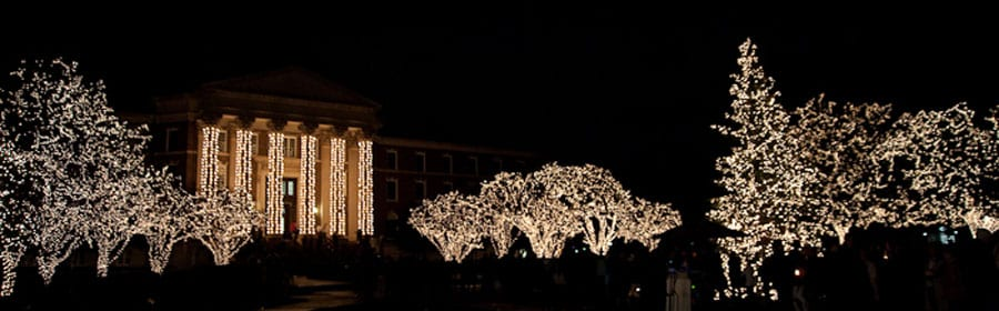 SMU holiday lights at night on the Main Quad