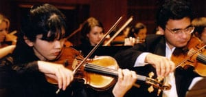 Meadows Symphony Orchestra violinists