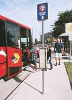 Mustang Express bus stop