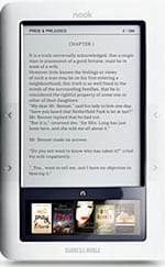 Nook e-reader screen
