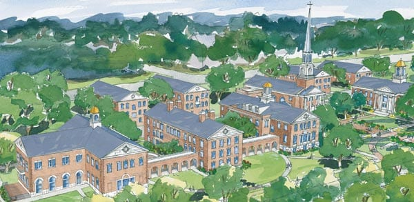 Artist's rendering of the revamped SMU theology quad