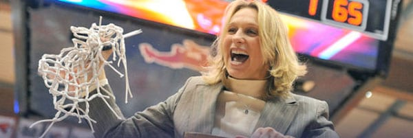 SMU Women's Basketball Coach Rhonda Rompola cuts the net