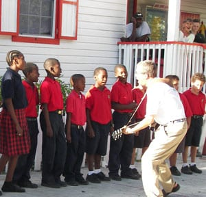 Robert Krout and students at Hope Town School, Bahamas