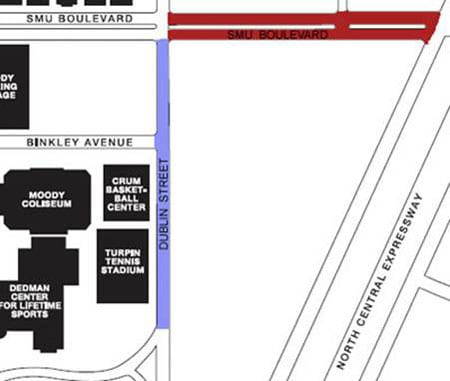 SMU Boulevard closing map, January 2011