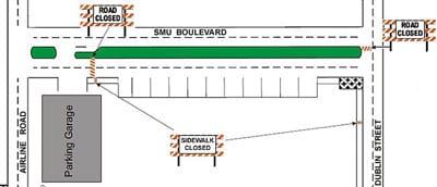 SMU Boulevard closure map, April-May 2011-