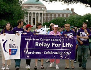 SMU Relay for Life in front of Dallas Hall