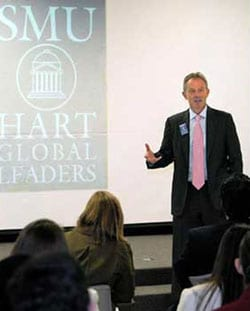Tony Blair speaks with high school students at SMU