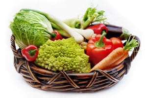 Stock photo of a basket of fresh vegetables