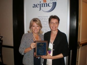 Dr. Alice Kendrick and Dr. Jami Fullerton with their Outstanding Service Award in Advertising