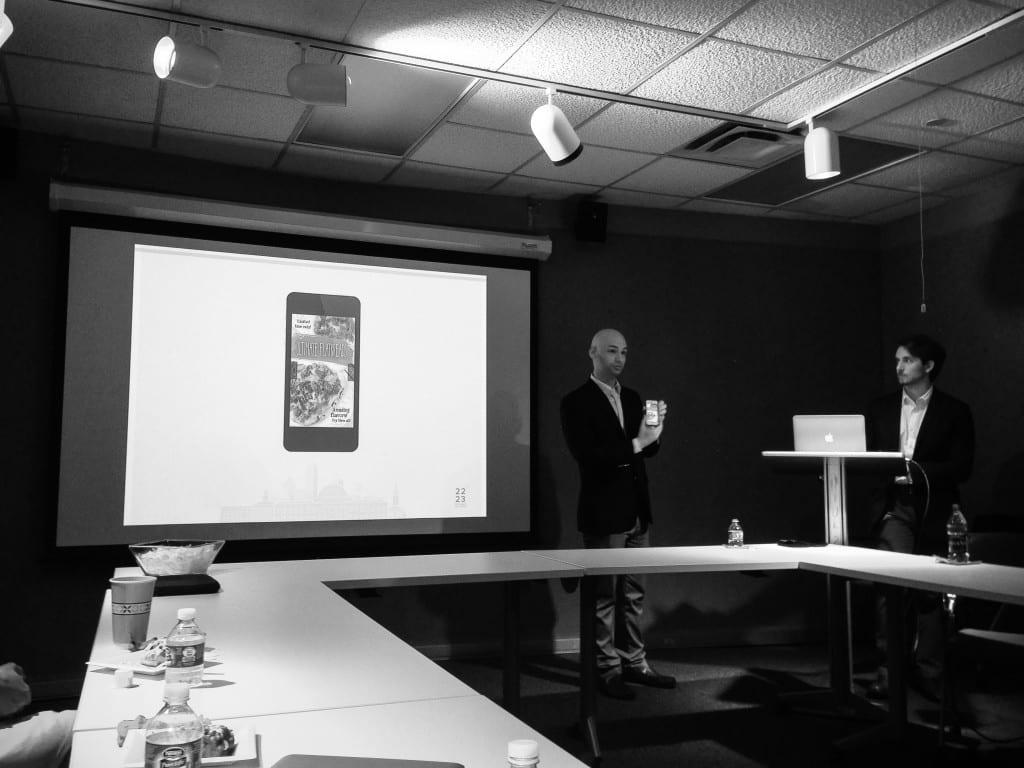 Members of 22/23 present their 'SMU Scoop' app idea.
