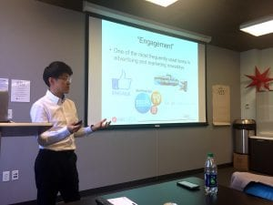 Dr. Kim lecturing on engagement.