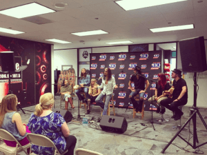 Steven Tyler and Loving Mary Band interviewing for a radio show.