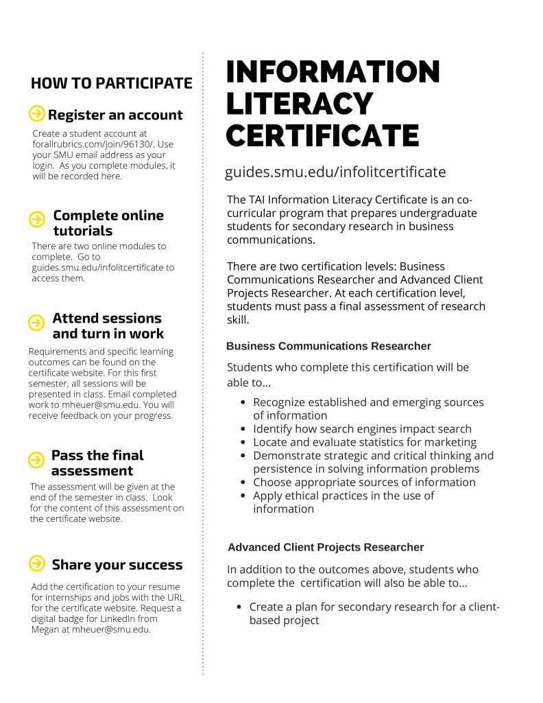 For more information on the Information Literacy Certificate, go to guides.smu.edu/infolitcertificate.