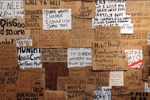 Some of the many homeless signs collected by Professor Baronet