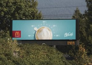 One shot of the McDonald's billboard featured in the Communication Arts Advertising Annual.