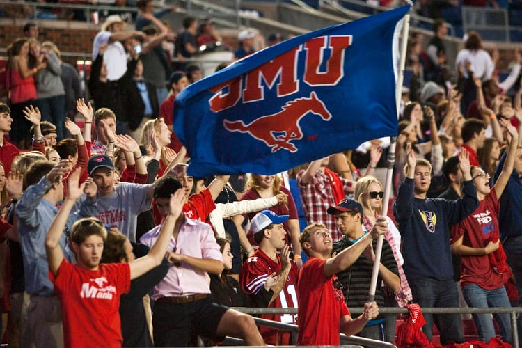 SMU football fans celebrate in Ford Stadium