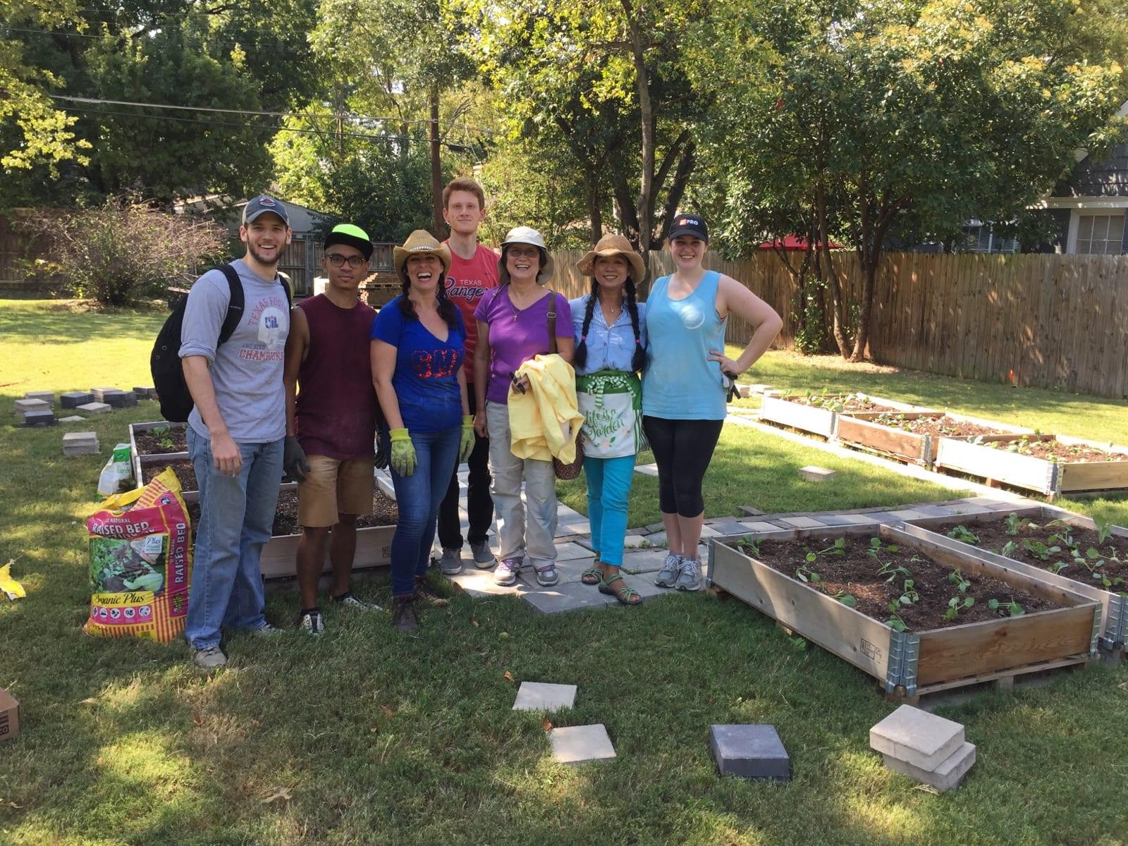 SMU community garden. Perkins school of theology. Volunteers and students. Vegetables and seedlings. Food deserts.