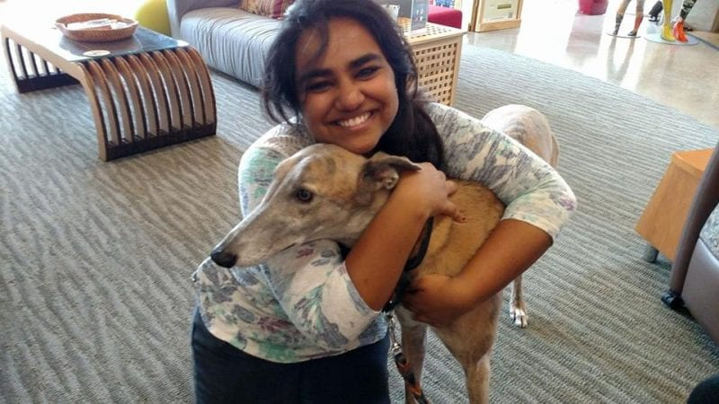 Young girl from India embracing the greyhound dog as the dog leans into her