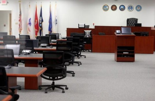 The military courtroom at Camp Justice.