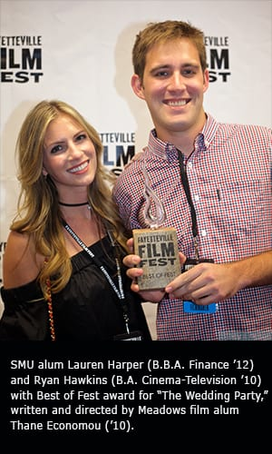 """SMU alums Lauren Harper (B.B.A. Finance '12) and Ryan Hawkins (B.A. Cinema-Television '10) with Best of Fest award for """"The Wedding Party,"""" written and directed by Meadows film alum Thane Economou ('10)."""