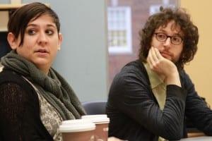 Nadia Sirota and Rob Moose guest lecture in Entrepreneurship and the Hero Adventure, SMU. (c) Jim Hart