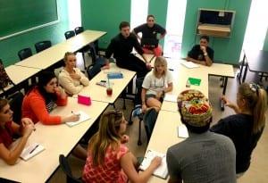Competing lemonade group B prepares for Friday's Lemonade Contest.