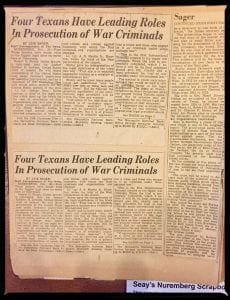 Newspaper articles highlight the Nuremberg Trials work of four Texans.