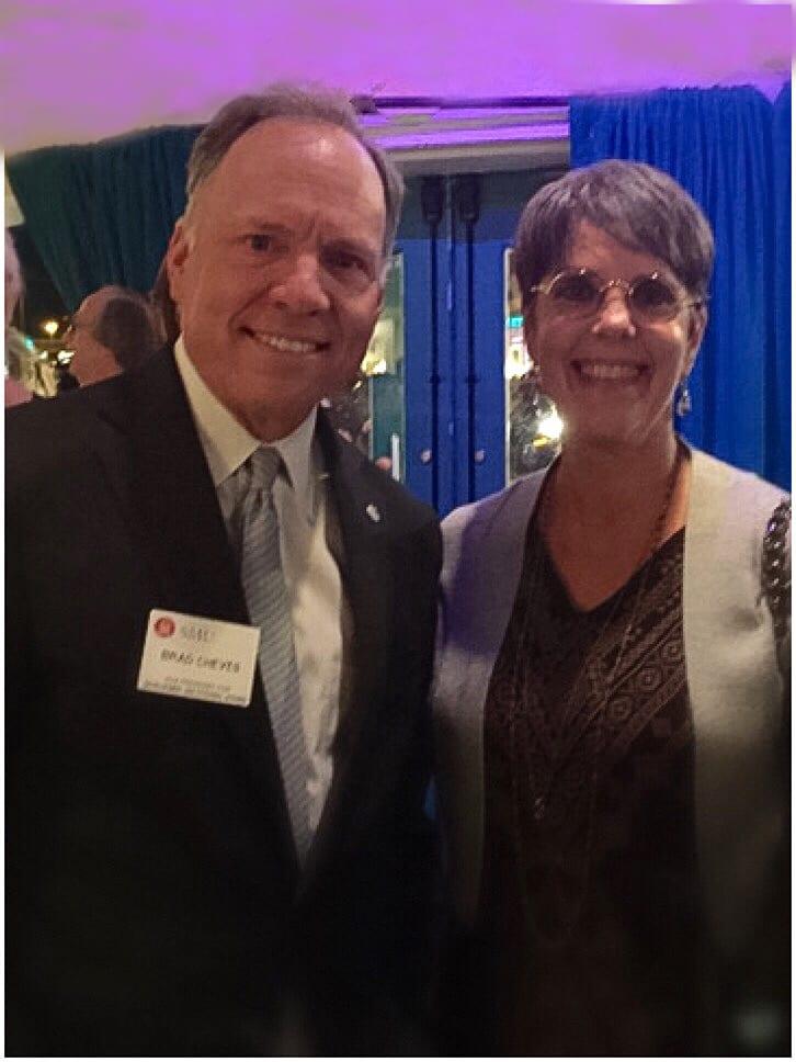 SMU Vice President Brad Cheves with philanthropist Lauren Embrey.