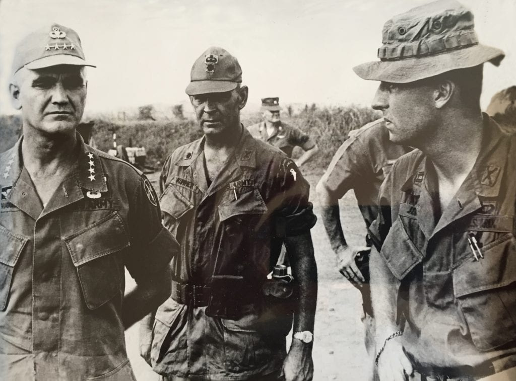 At far right, Col. Mel Jenks (father of Lt. Col./SMU Law Prof. Chris Jenks) talks with Gen. William C. Westmoreland and another officer during the Vietnam War.