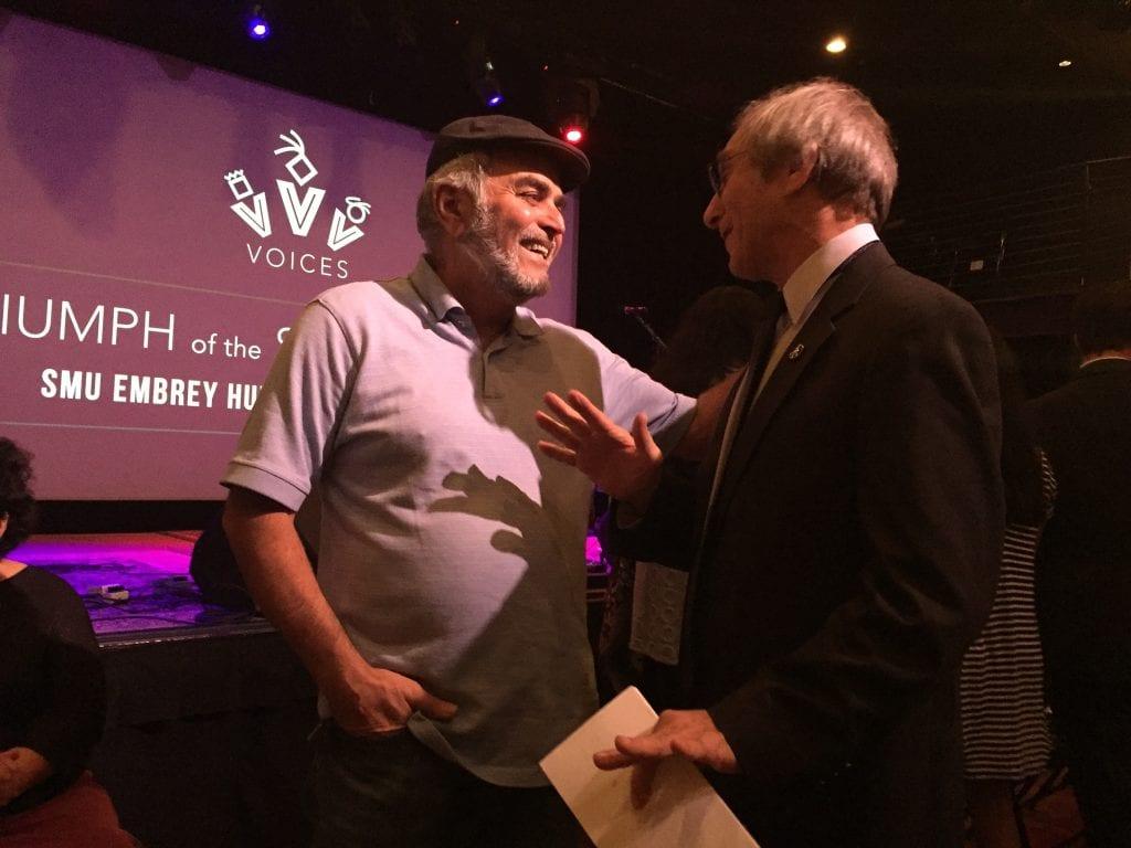 SMU Embrey Human Rights Program Director Rick Halperin, right, with Dallas peace activist Hadi Jawad.