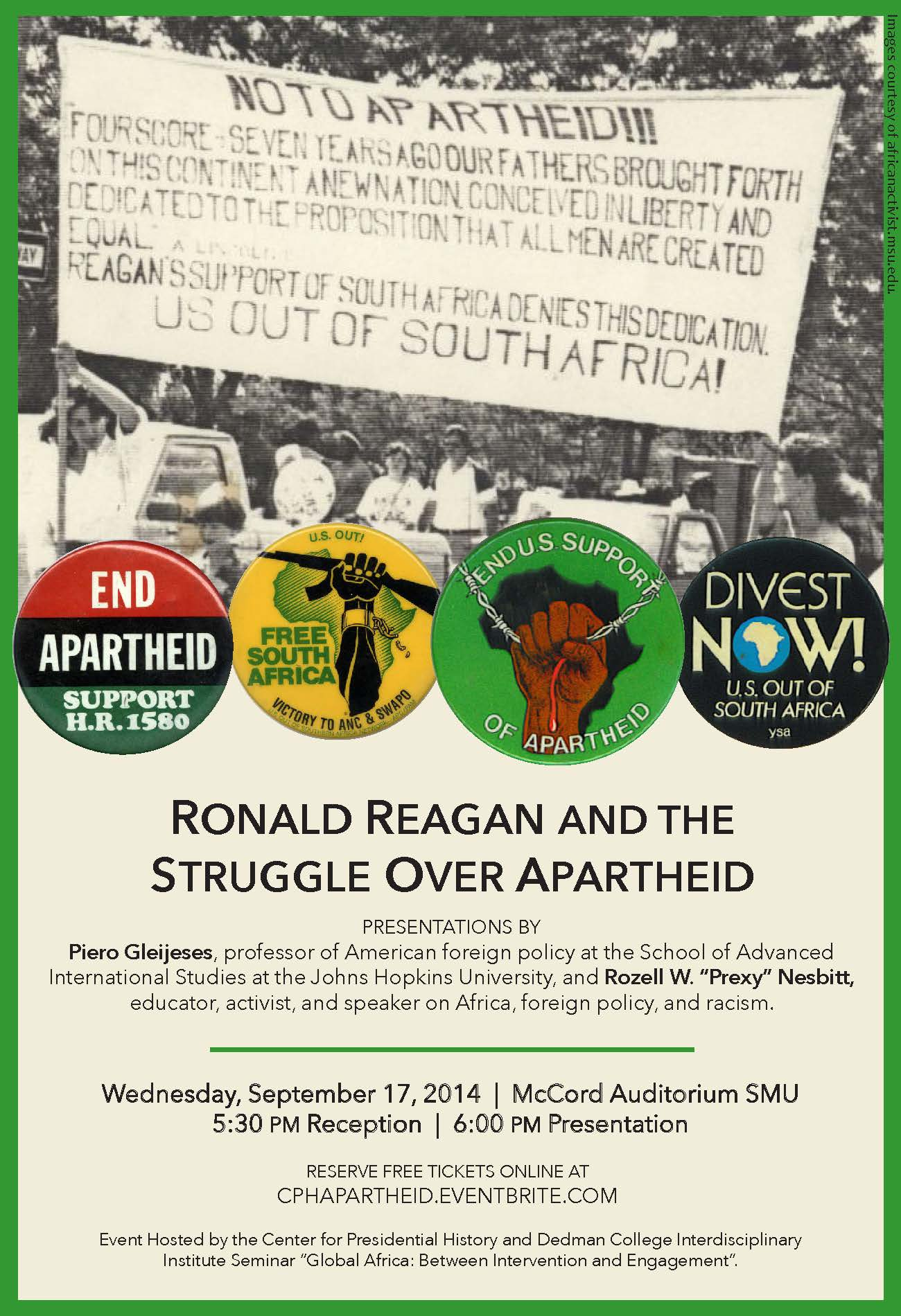 Flyer - Ronald Reagan and the Struggle for Apartheid, v3