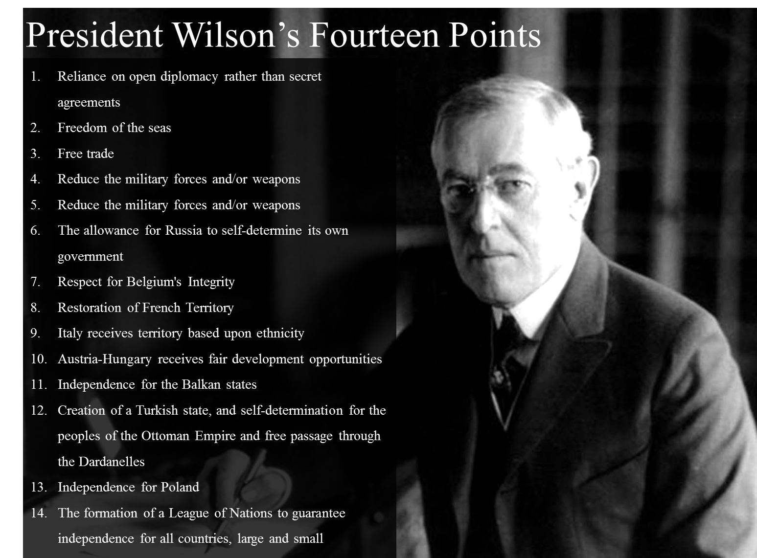 woodrow wilsons fourteen points essay In january 1918, woodrow wilson unveiled his fourteen points to the us congress the speech was a natural extension of the proposals he had offered in his peace without victory address and his request for a declaration of war.