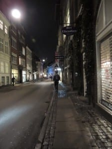 The street right outside of the Danish Institute for Study Abroad in Downtown Copenhagen, Denmark
