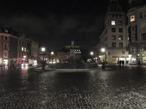 A square outside of the DIS buildings in downtown Copenhagen, Denmark