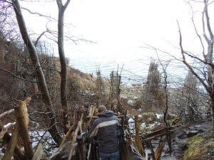 Entering Ladonia on the driftwood structure.