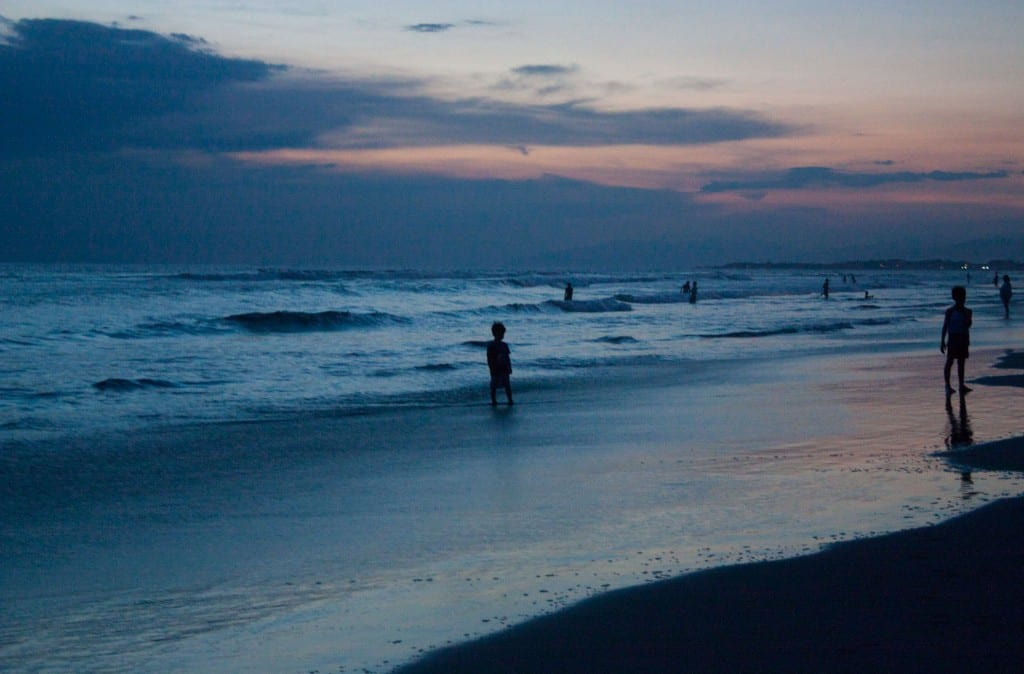 A view of Seminyak Beach in Bali after the sunset.