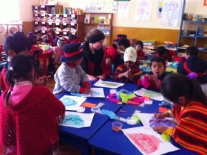 With the children working on their morning craft