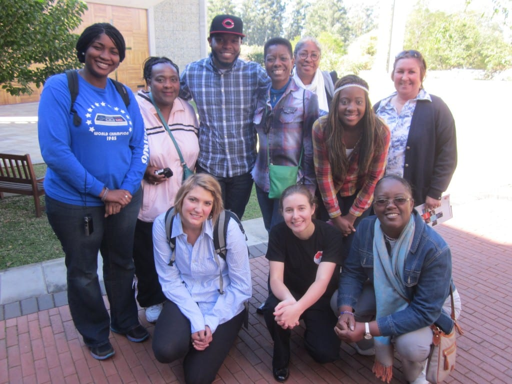 Perkins Theology students, with Professor Evelyn Parker (back row, third from right) and South African guide Dulce (next to Dr. Parker), visit the Seth Mokitimi Methodist Seminary in Pietermaritzburg, KwaZulu-Natal (KZN) South Africa.