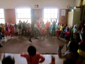 Children at Phakamisa singing and dancing