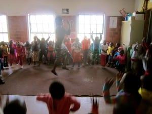 Children at Phakamisa singing and dancing