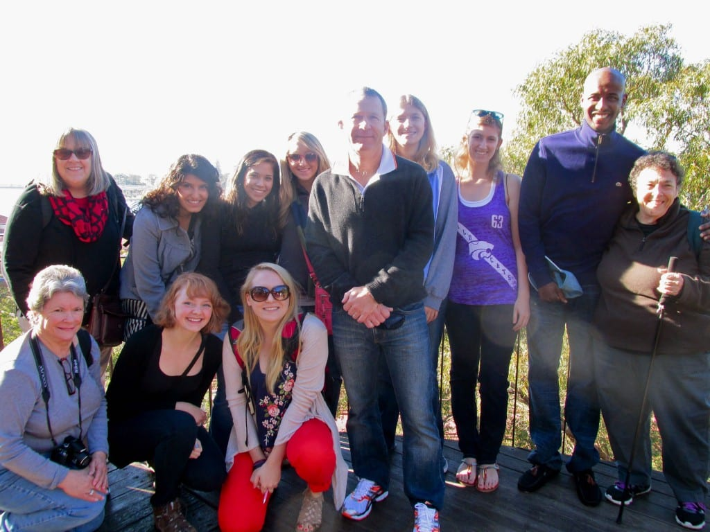 Some of our group in King's Park, overlooking Perth and the Swan River