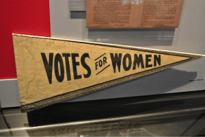 A photo of the exhibit honoring Elizabeth Cady Stanton and Susan B. Anthony's contributions to women's suffrage, which ultimately led to the passage of the 19th Amendment.