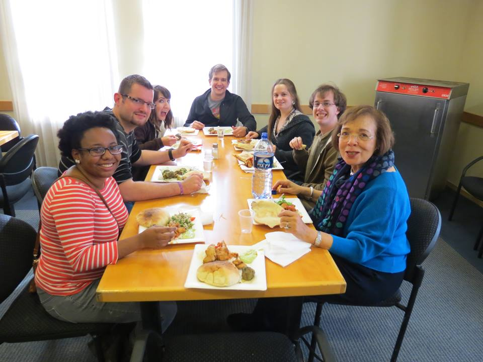 Perkins students enjoy lunch at the Shalom Hartman Institute.