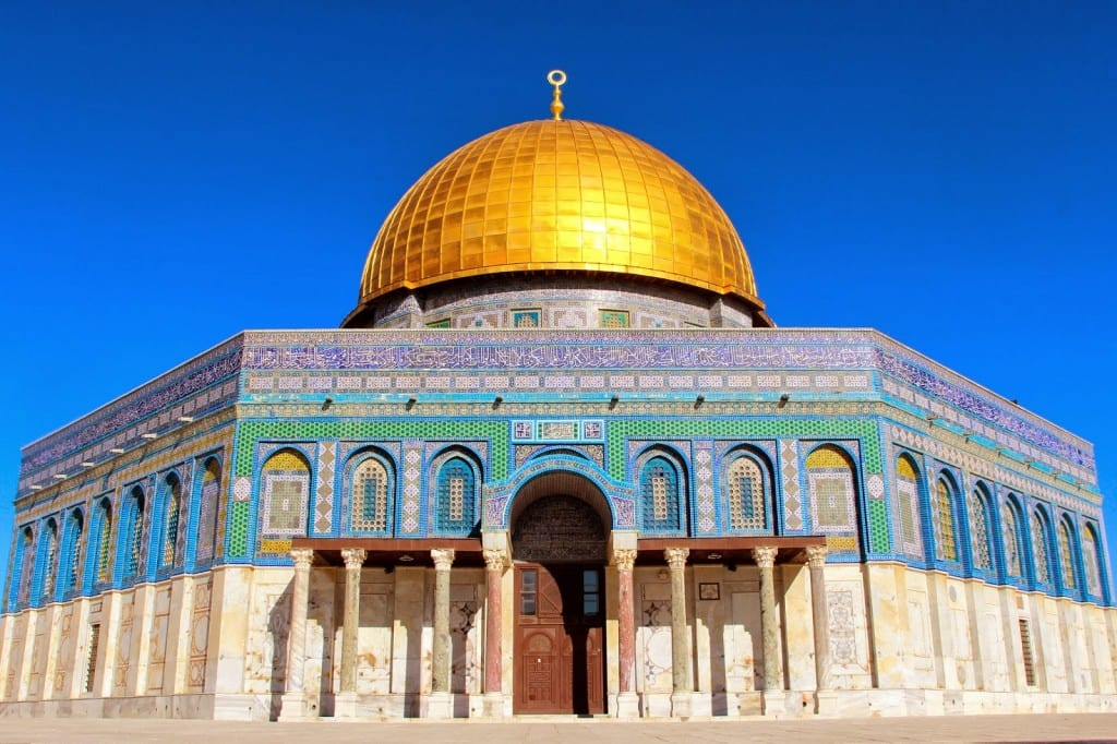 The Dome of the Rock.  I became lost in photographing it, so much so that at one point, in order to get better shot--seen here--I laid down on the ground, a big no-no that a soldier quickly pointed out to me.