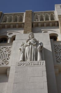 "Lady Opportunity - One of the Greek goddess features located above the main entrance of Little Rock Central High School. This statue displays ""Opportunity"". Ironically the school was originally for whites only."